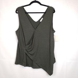 14th union Women's tank blouse green Stretch wrap